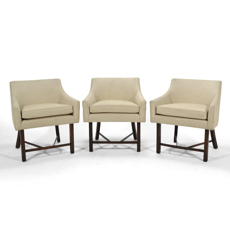 These light, lithe and elegant armchairs by Harvey Probber are scaled perfectly to serve as part of a larger seating group or on their own as occasional chairs. Their proportions and profile make them beautiful from every angle and their