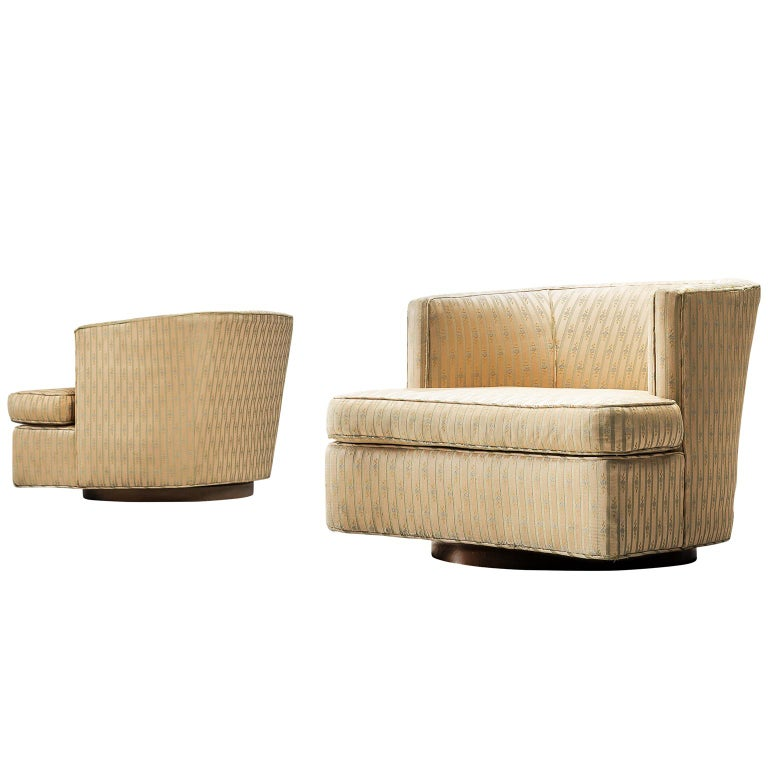 Harvey Probber Set of Two Swivel Chairs For Sale