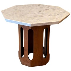 Harvey Probber Side Table Travertine Walnut Modern Geometric