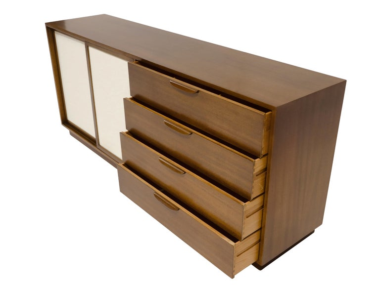 American Harvey Probber Sideboard with Leather Doors For Sale