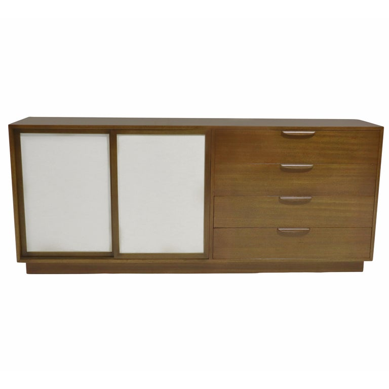 Harvey Probber Sideboard with Leather Doors For Sale