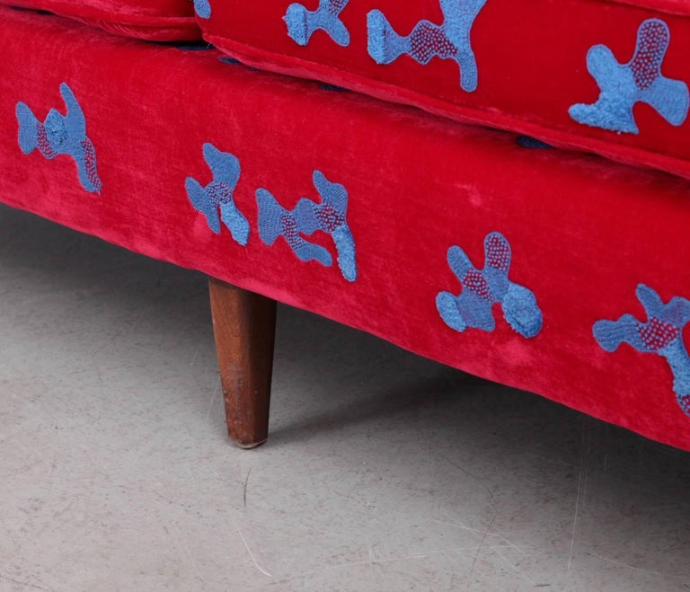 Mid-Century Modern Harvey Probber Sofa with Jupe by Jackie Hand Embroidered Fabric For Sale