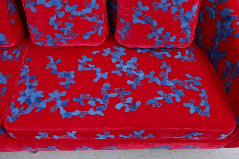 American Harvey Probber Sofa with Jupe by Jackie Hand Embroidered Fabric For Sale