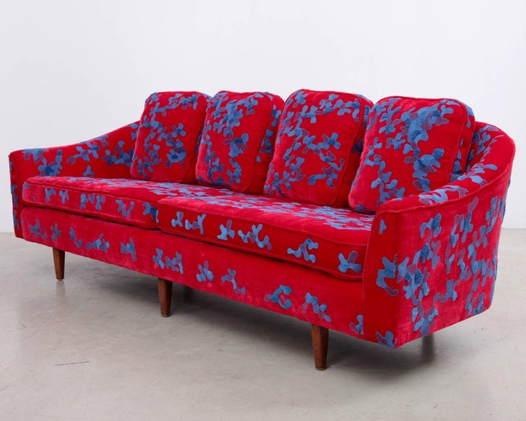 Mid-20th Century Harvey Probber Sofa with Jupe by Jackie Hand Embroidered Fabric For Sale