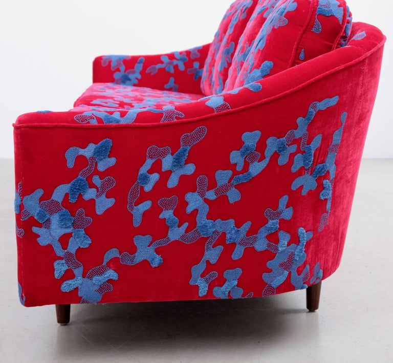Cotton Harvey Probber Sofa with Jupe by Jackie Hand Embroidered Fabric For Sale