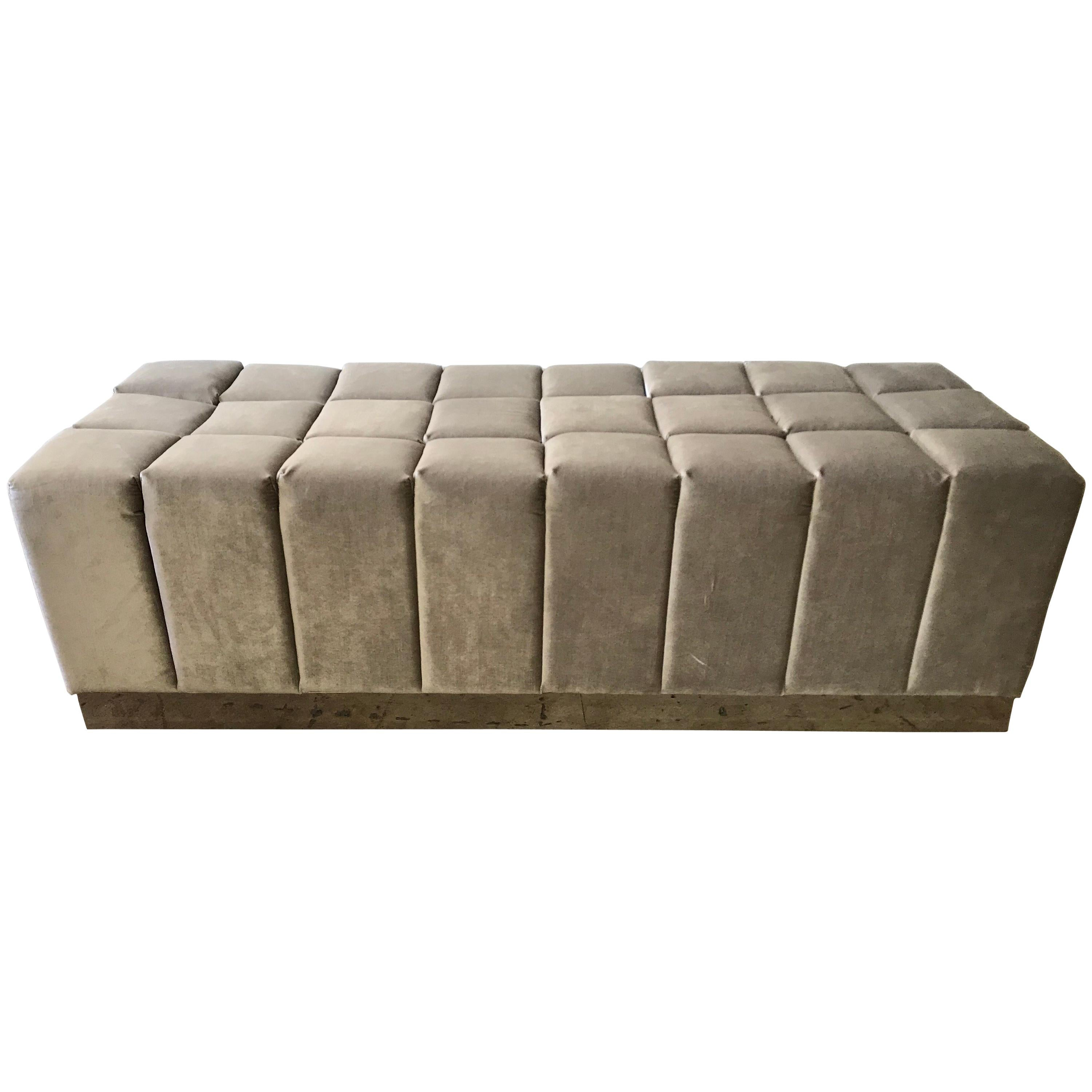 Harvey Probber Style Biscuit Tufted Grey Velvet and Steel Bench or Ottoman