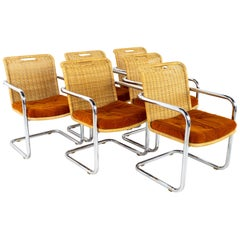 Harvey Probber Style Chromcraft MCM Cane Wicker and Chrome Dining Chairs Set 6