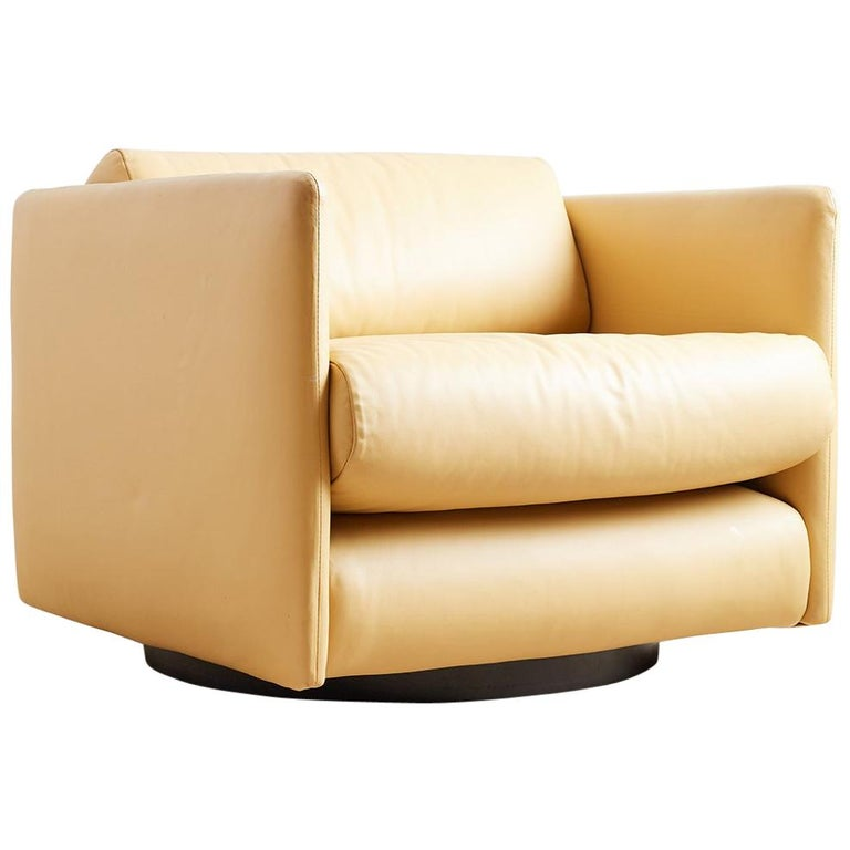 Amazing Harvey Probber Style Leather Cube Swivel Chair At 1Stdibs Creativecarmelina Interior Chair Design Creativecarmelinacom