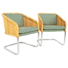 Harvey Probber Style MCM Chrome and Cane Occasional Lounge Chairs, Set of 2