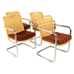 Harvey Probber Style Mid Century Cane and Chrome Dining Chairs - Set of 4