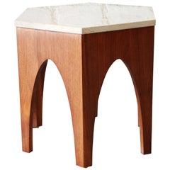 Harvey Probber Style Midcentury Walnut and Travertine Hexagonal Side Table