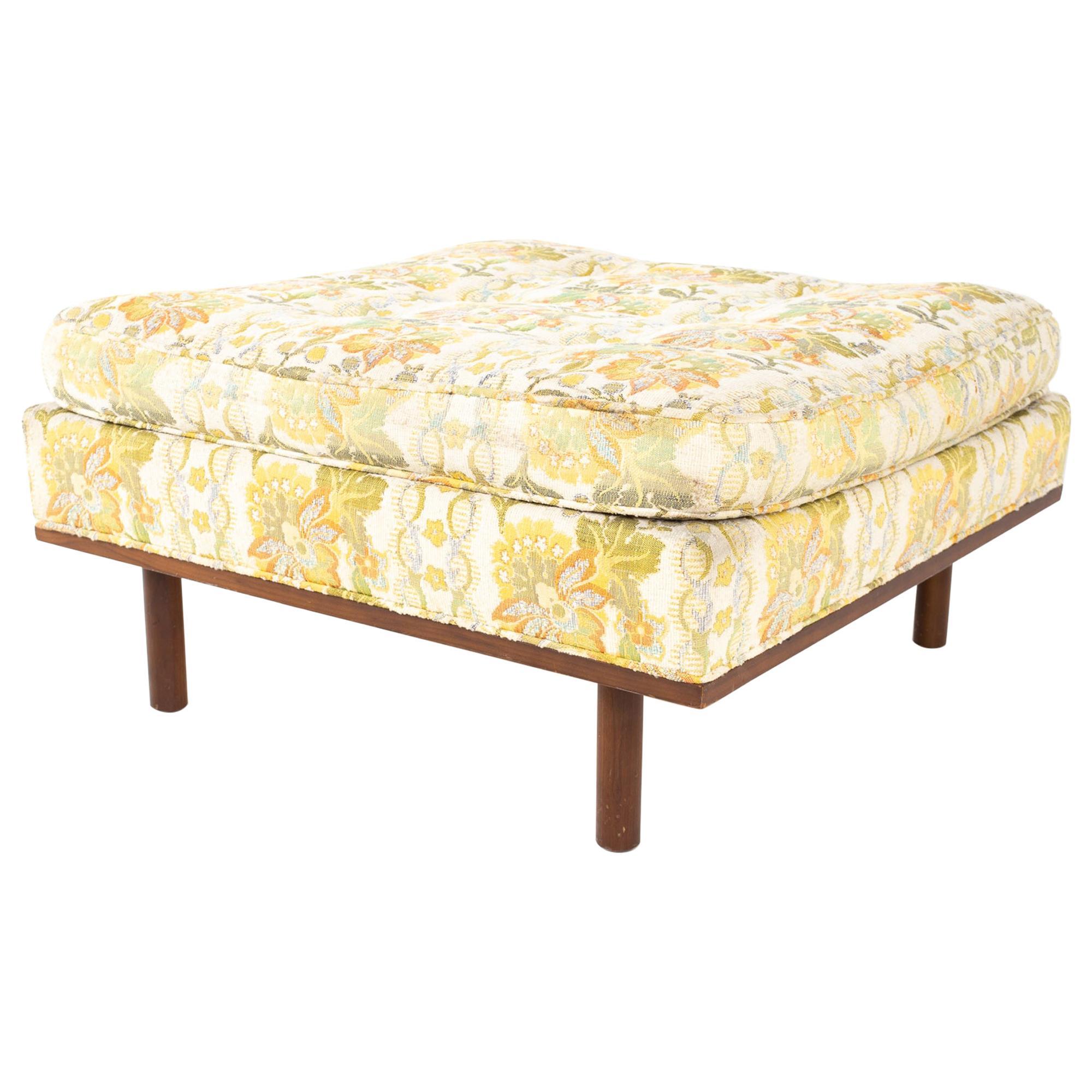 Harvey Probber Style Mid Century Upholstered Walnut Ottoman