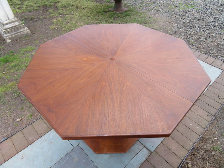 Harvey Probber Style Walnut Octagon Extension Table 2 Leaves Mid ...