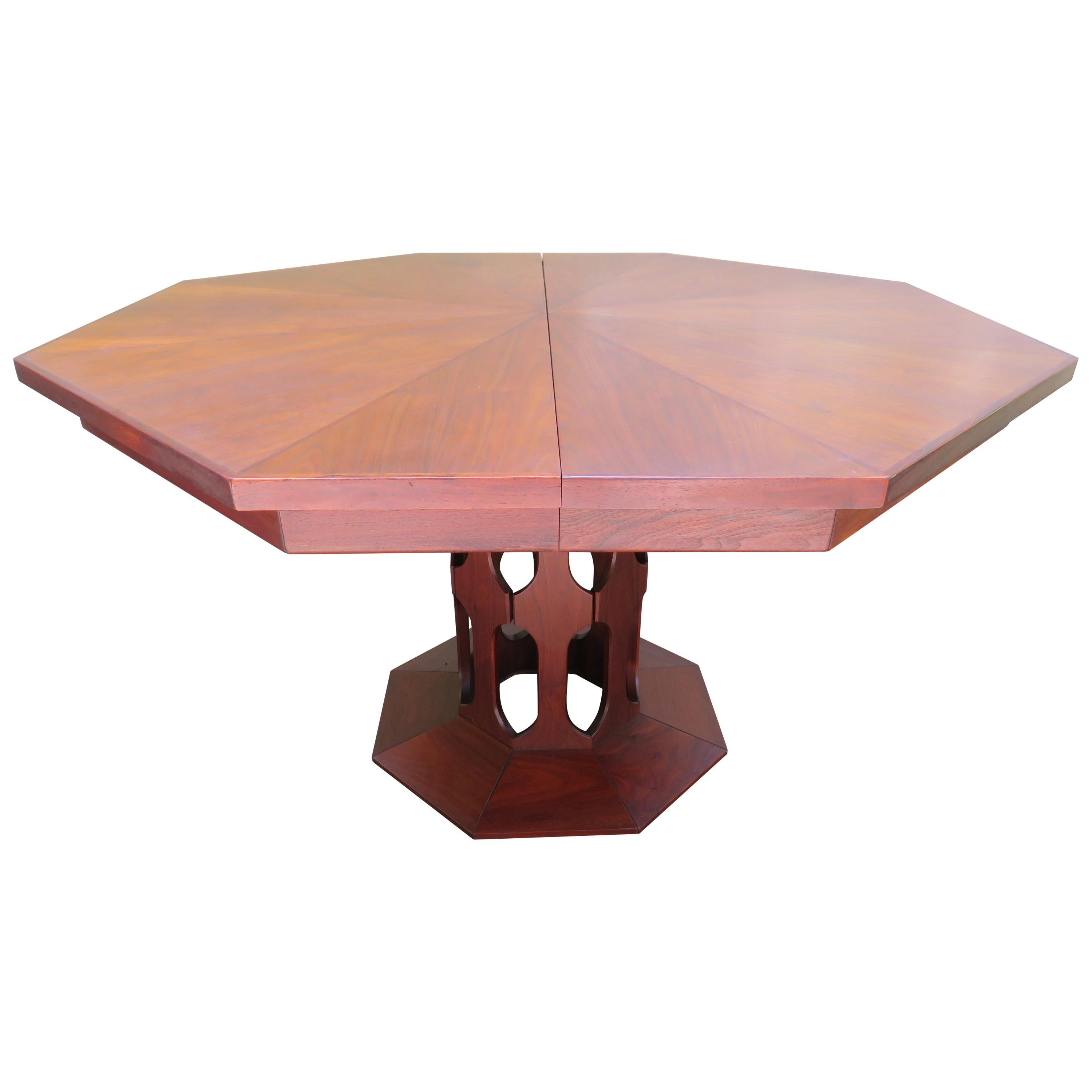 Harvey Probber Style Walnut Octagon Extension Table 4 Leaves Mid-Century  Modern