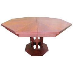 Harvey Probber Style Walnut Octagon Extension Table 3 Leaves Mid-Century Modern