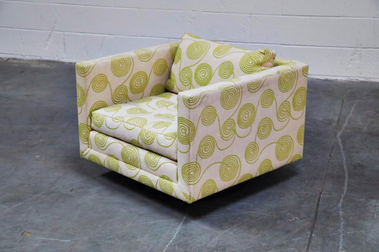This incredibly cool signed Harvey Probber swivel club chair from circa 1960 possesses its original fabric, which remains in fantastic original vintage condition and ready to be used immediately.   The wild shapes and pattern on this Probber