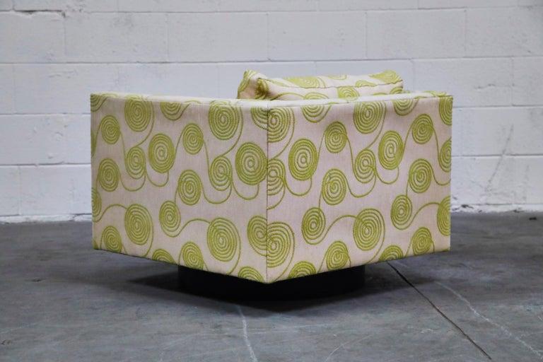 20th Century Harvey Probber Swivel Club Chair in Original Fabric, circa 1960, Signed