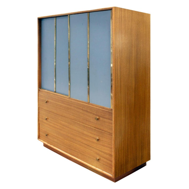 Harvey Probber Tall Chest Of Drawers In Mahogany With Blue