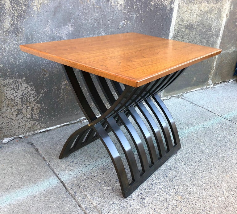 American Harvey Probber Teak and Mahogany Side Table For Sale