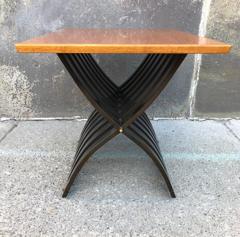 Harvey Probber Teak and Mahogany Side Table In Good Condition For Sale In Hudson, NY