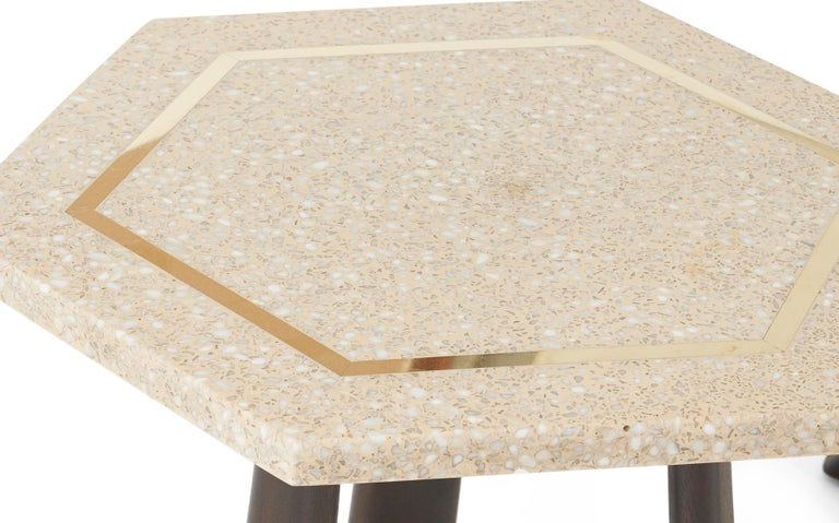Set of three terrazzo top side tables with inlaid brass detail. Fully restored with refinished bases. Designed by Harvey Probber.