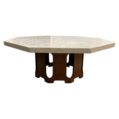 Harvey Probber Travertine Midcentury Modern Marble Coffee Table