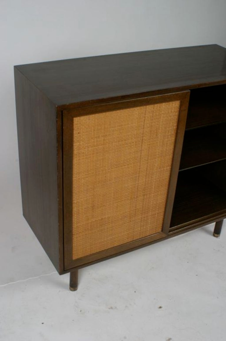 American Harvey Probber Two-Door Mahogany Cabinet with Cane Doors For Sale
