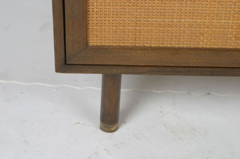 Harvey Probber Two-Door Mahogany Cabinet with Cane Doors In Good Condition For Sale In St. Louis, MO