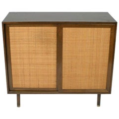 Harvey Probber Two-Door Mahogany Cabinet with Cane Doors