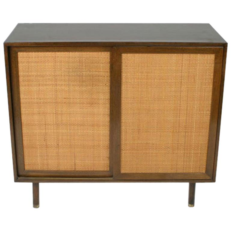Harvey Probber Two-Door Mahogany Cabinet with Cane Doors For Sale