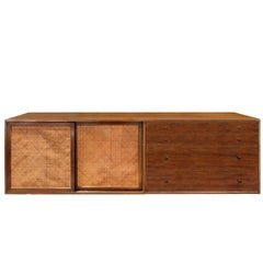 Harvey Probber Wall Mounted Credenza with Inset Caned Doors, 1950s