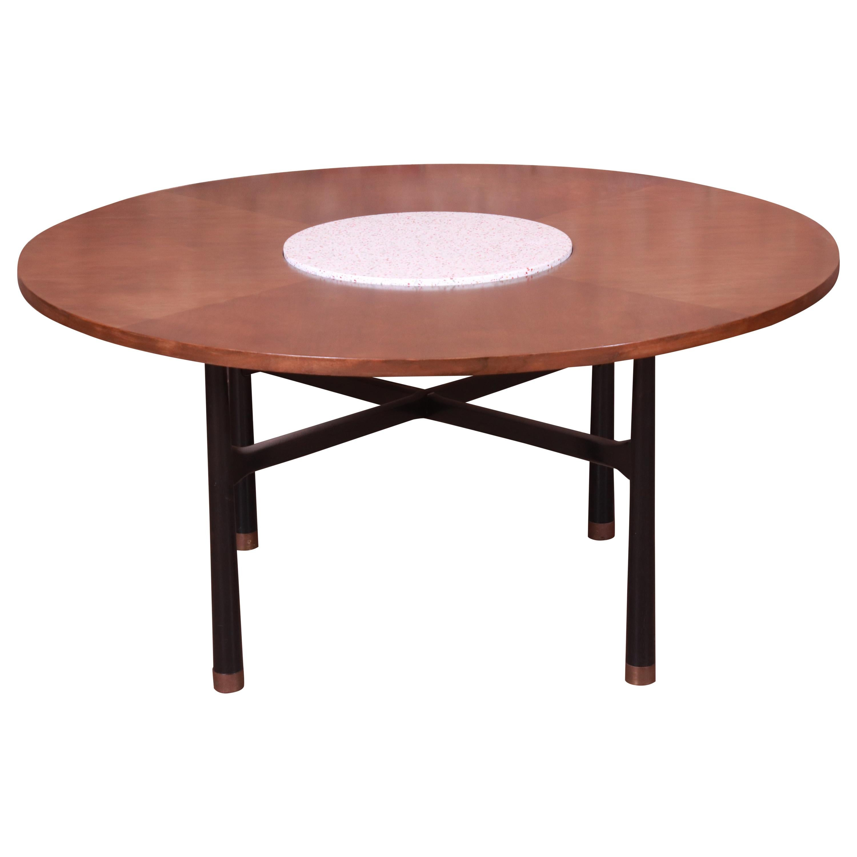 Harvey Probber Walnut and Terrazzo Marble Game or Center Table, 1950s