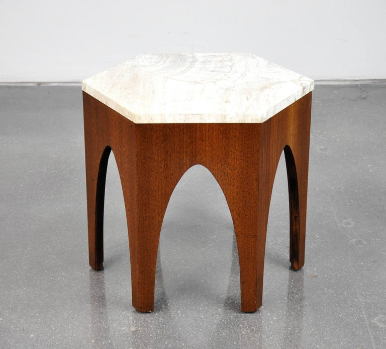Mid-Century Modern Harvey Probber Walnut and Travertine Hexagonal Side Table For Sale
