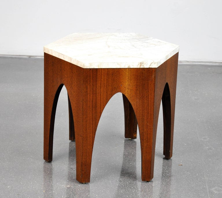 American Harvey Probber Walnut and Travertine Hexagonal Side Table For Sale