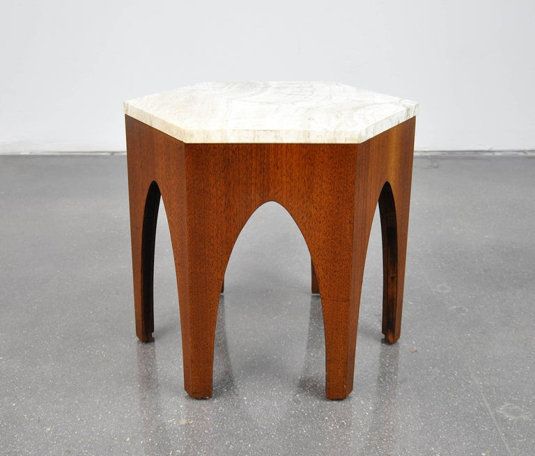 Mid-20th Century Harvey Probber Walnut and Travertine Hexagonal Side Table For Sale