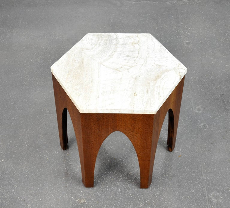 Harvey Probber Walnut and Travertine Hexagonal Side Table For Sale 2