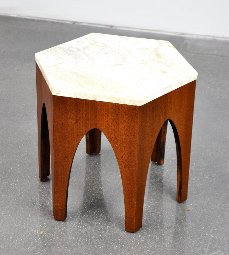 Harvey Probber Walnut and Travertine Hexagonal Side Table For Sale 3