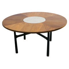 Harvey Probber Walnut And Travertine Marble Table