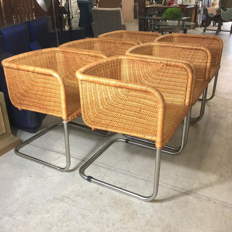 Harvey Probber Wicker and Chrome Cantilevered Chairs 5