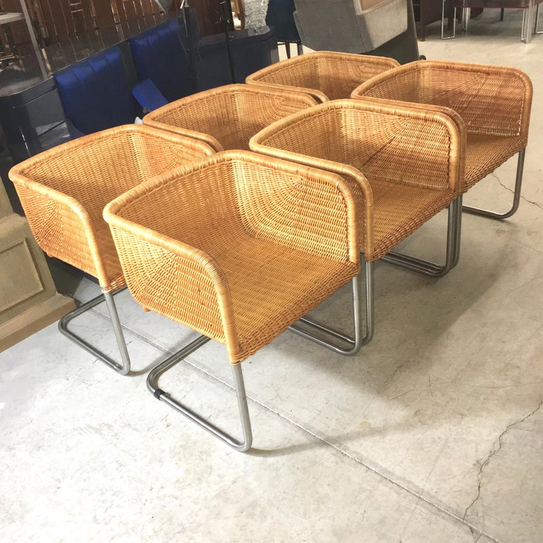 Harvey Probber Wicker and Chrome Cantilevered Chairs 6