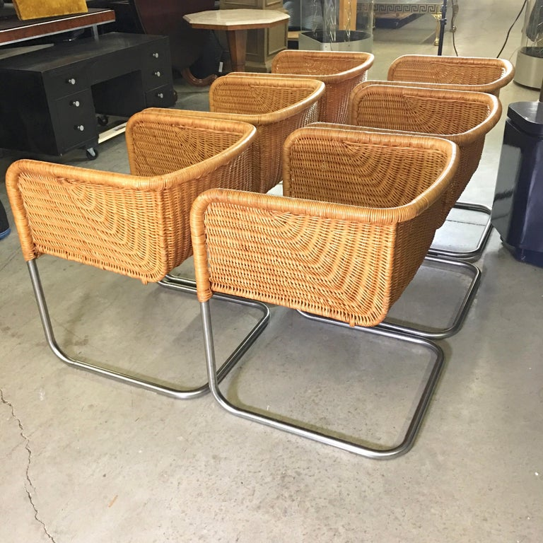 Harvey Probber Wicker and Chrome Cantilevered Chairs 7