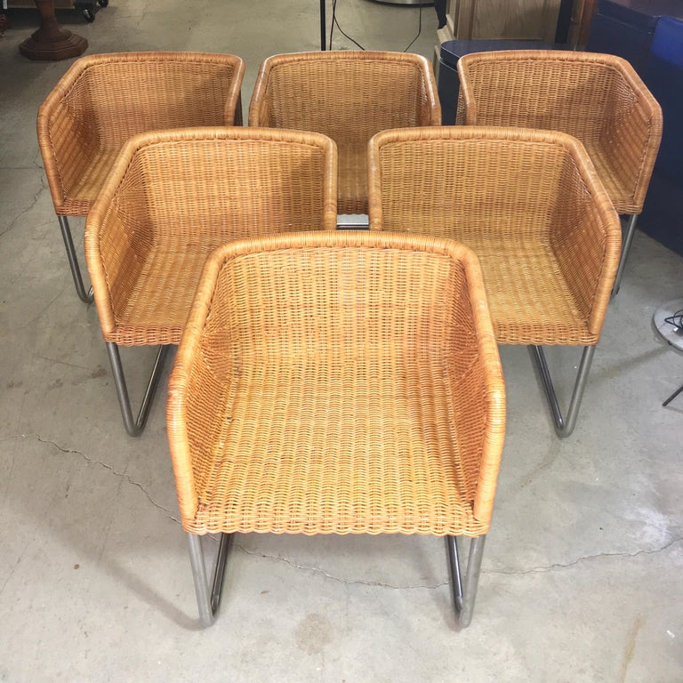 Harvey Probber Wicker and Chrome Cantilevered Chairs 8