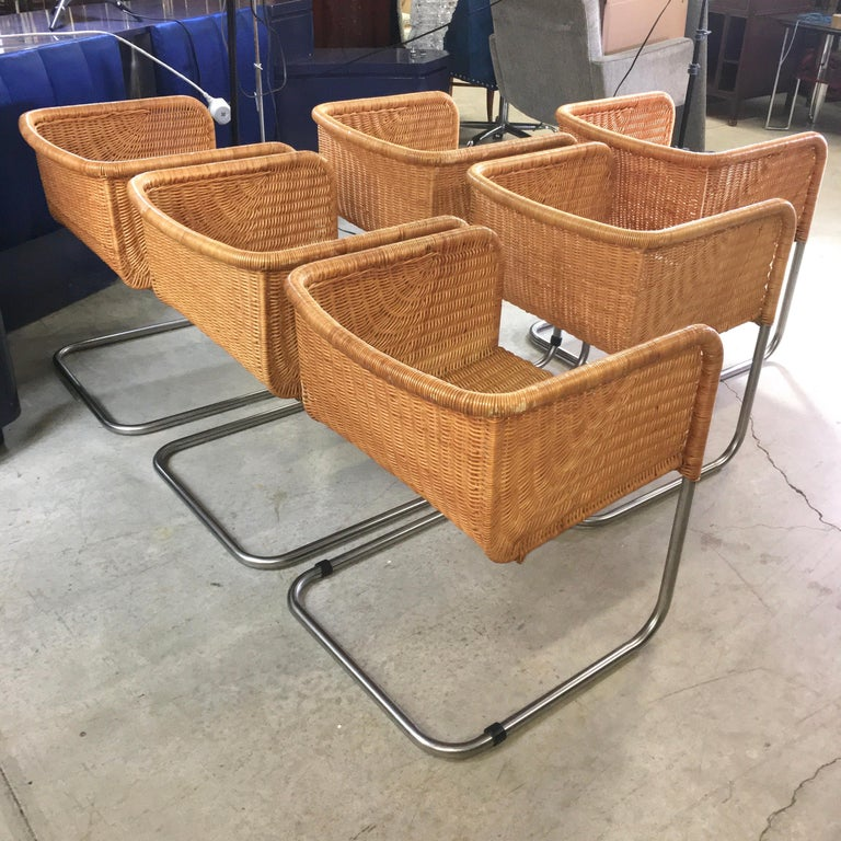 Harvey Probber Wicker and Chrome Cantilevered Chairs 9
