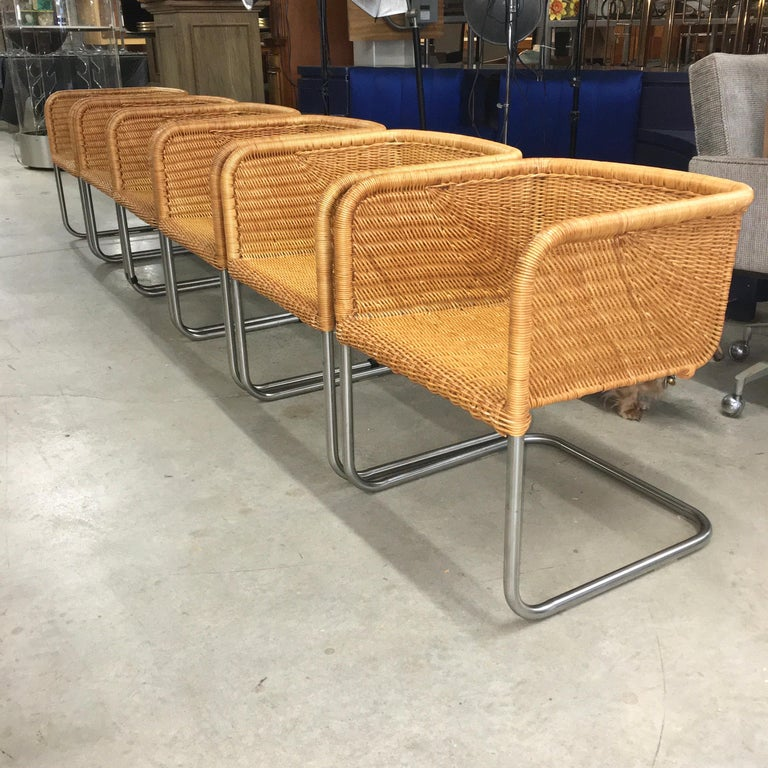 Mid-Century Modern Harvey Probber Wicker and Chrome Cantilevered Chairs