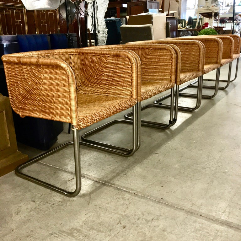 German Harvey Probber Wicker and Chrome Cantilevered Chairs
