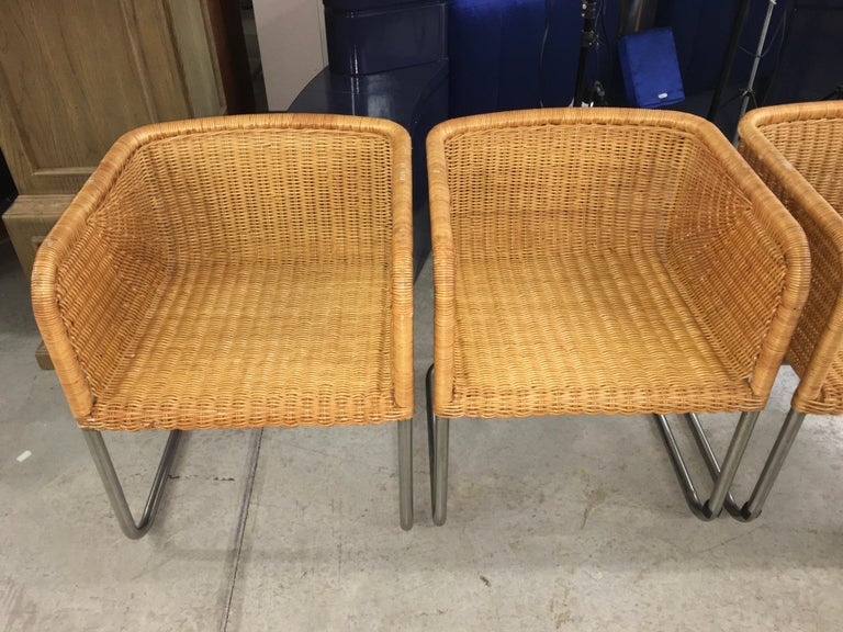 Harvey Probber Wicker and Chrome Cantilevered Chairs In Good Condition In Hingham, MA