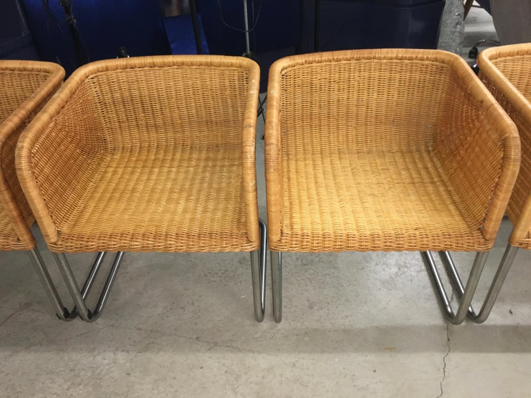Late 20th Century Harvey Probber Wicker and Chrome Cantilevered Chairs