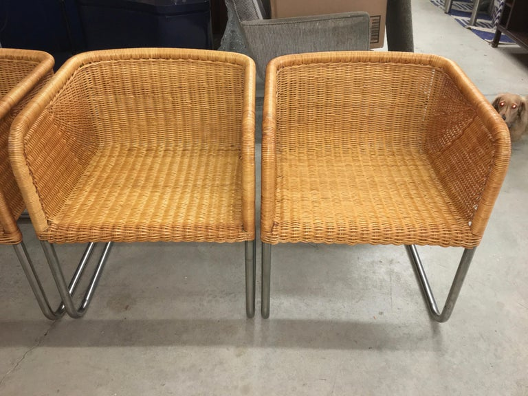 Harvey Probber Wicker and Chrome Cantilevered Chairs 1