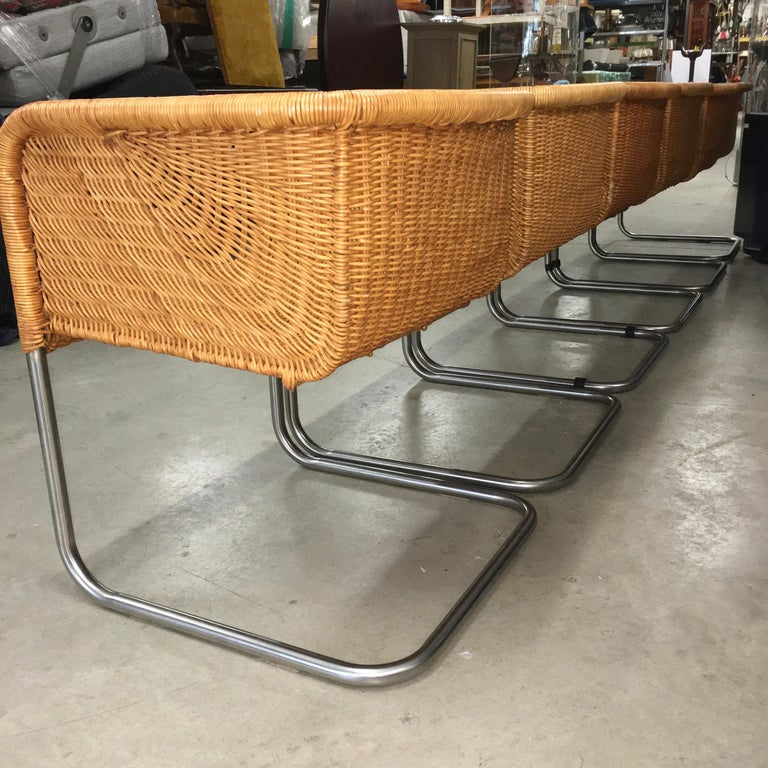 Harvey Probber Wicker and Chrome Cantilevered Chairs 2