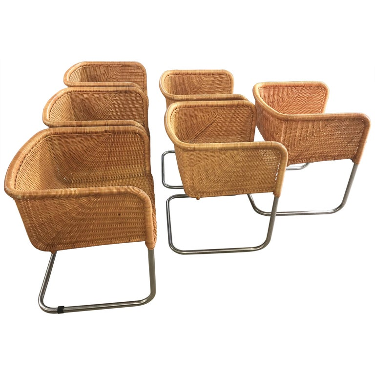 Harvey Probber Wicker and Chrome Cantilevered Chairs